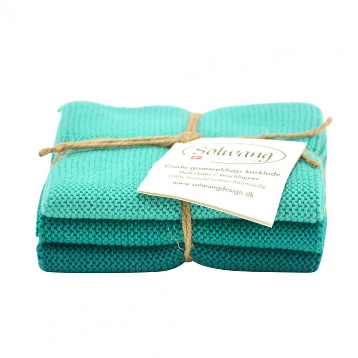 Danish Cotton Dishcloth Trio - Turquoise