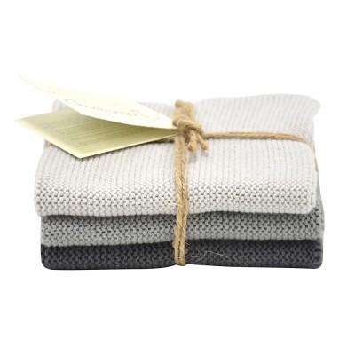 Danish Cotton Dishcloth Trio - Grey
