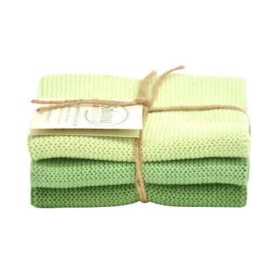 Danish Cotton Dishcloth Trio - Dusty Green