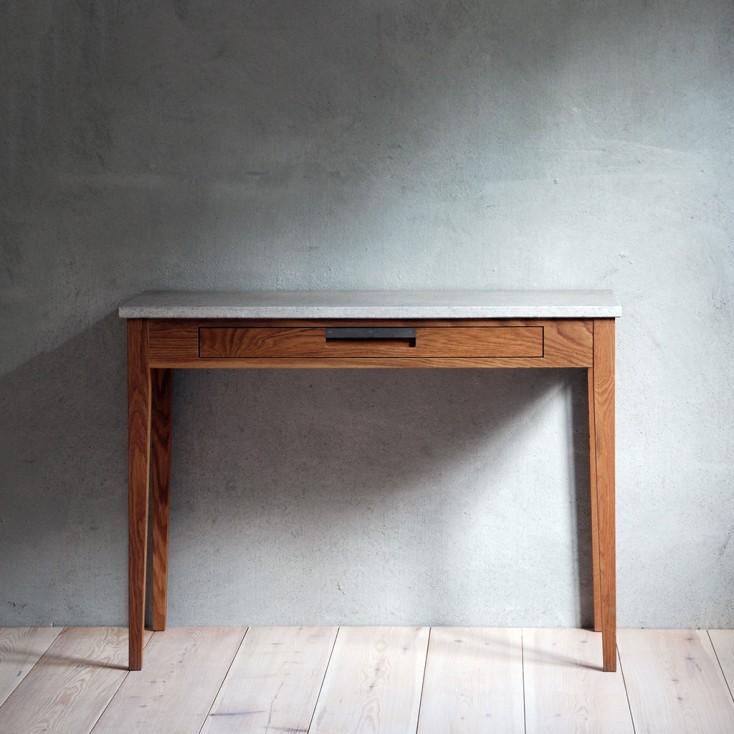 Gad Ala Oak Desk - One Drawer - Limestone Top