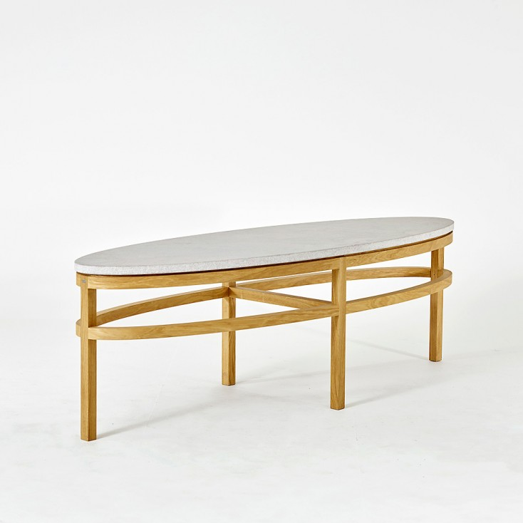 Gad Bläse Ellipse Coffee Table - Oak - Limestone Top