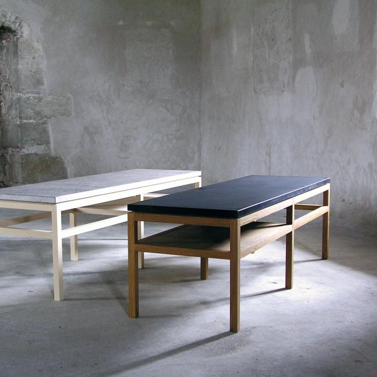 Gad Bläse Rectangular Coffee Table - Birch & Limestone - Oak & Granite