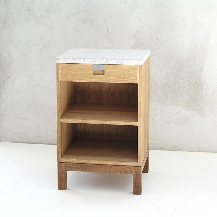 Gad Karlsö Oak Bedside Cabinet + Limestone Top