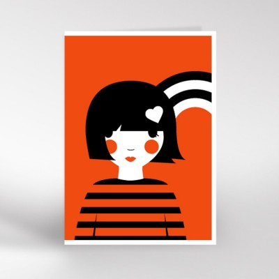 Red Girl with Rainbow Greeting Card