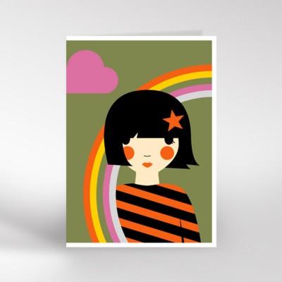 Girl with Rainbow Greeting Card