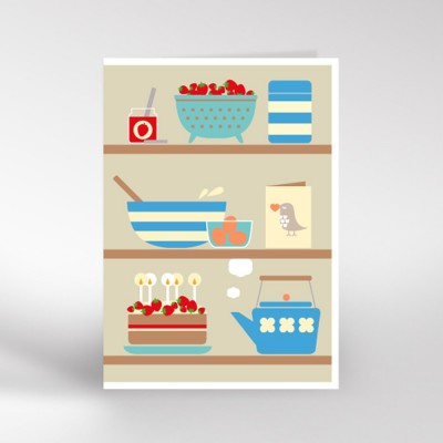 Kitchen Shelves Greeting Card