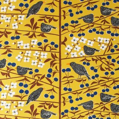Scandinavian Fabric - Almedahls Körsbärsträdgården Mustard