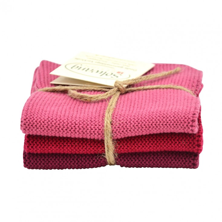 Danish Cotton Dishcloth Trio - Bordeaux