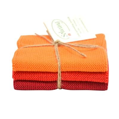Danish Cotton Dishcloth Trio - Orange