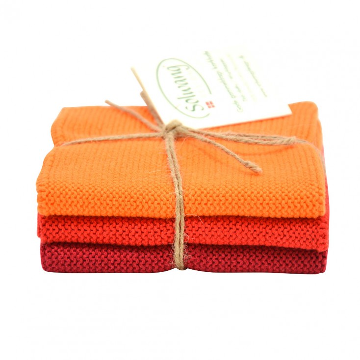 Danish Cotton Dishcloth Trio - Orange