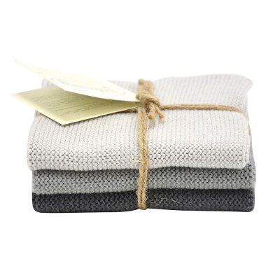 Danish Cotton Dishcloth Trio - Grey