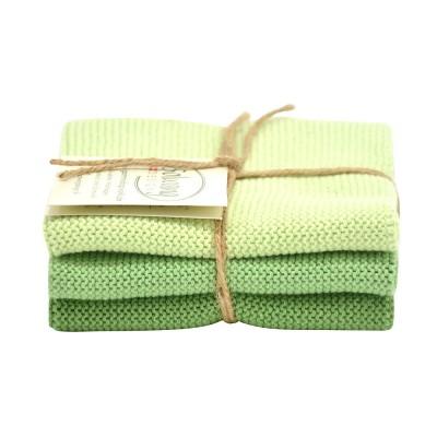 Danish Cotton Dishcloth Trio - Dusty Green