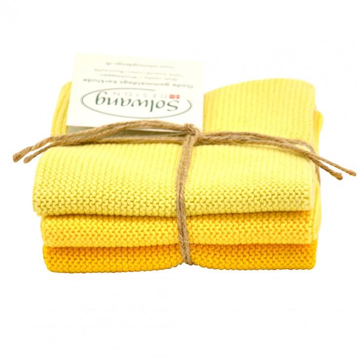 Danish Cotton Dishcloth Trio - Yellow