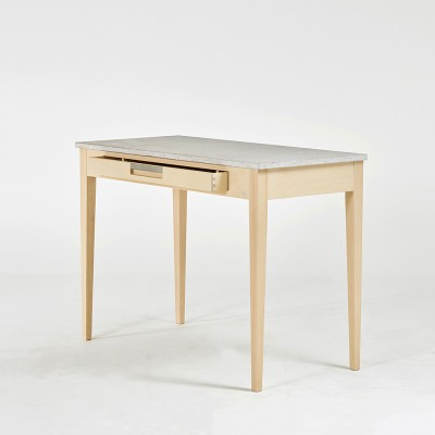 Gad Ala Birch Desk - Limestone Top - One Drawer