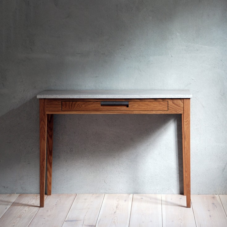 Gad Ala Oak Desk - One Drawer - Limestone Top