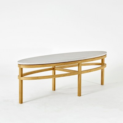 Gad Bläse Ellipse Coffee Table - Oak - Limestone Top