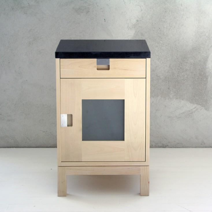 Gad Karlsö Birch Bedside Cabinet With Door + Granite Top