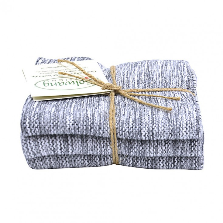 Danish Cotton Dishcloth Trio - Grey Marl