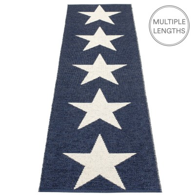 Pappelina Viggo Star Dark Blue Metallic Runner - 70 x 250 cm