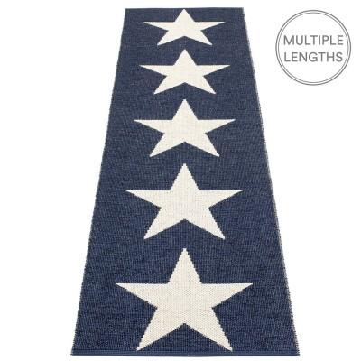 Pappelina Viggo Star Dark Blue Metallic Runner - 70 x 250 cm