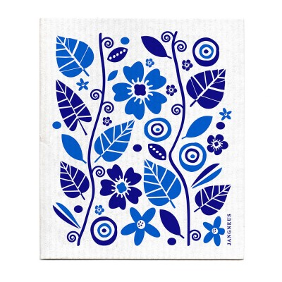 Jangneus Blue Flowers & Leaves Dishcloth