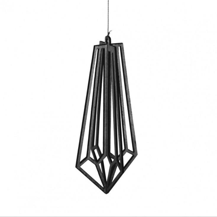 Finnish Birch Crystal Decoration - Black