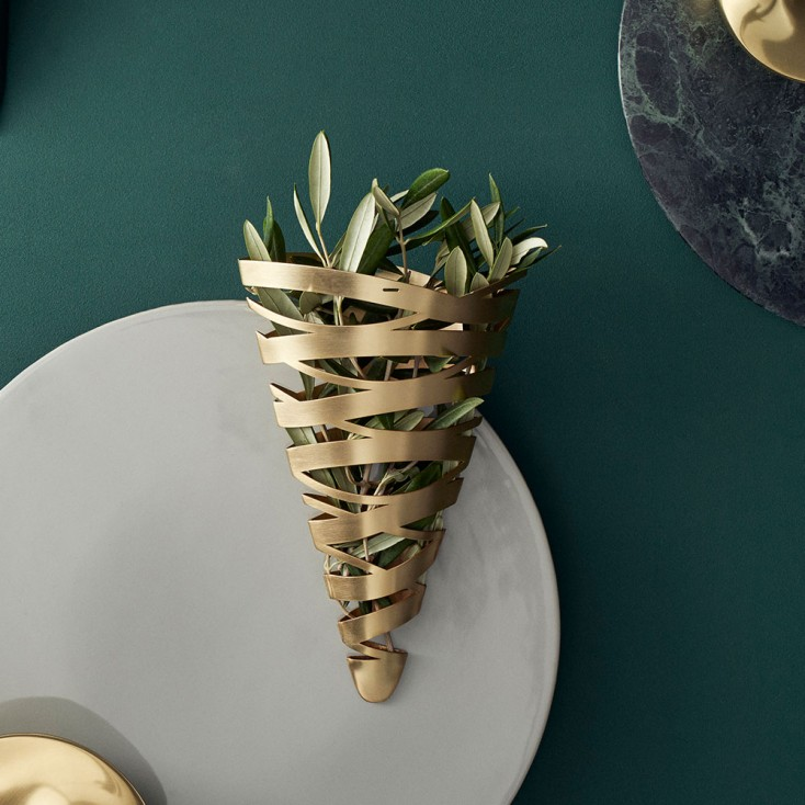Stelton Large Tangle Cone Ornament - Brass