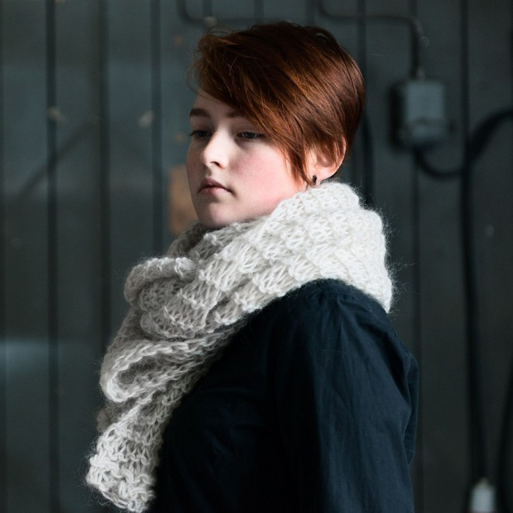 Eldblå Gotland Wool Shawl - Light Grey