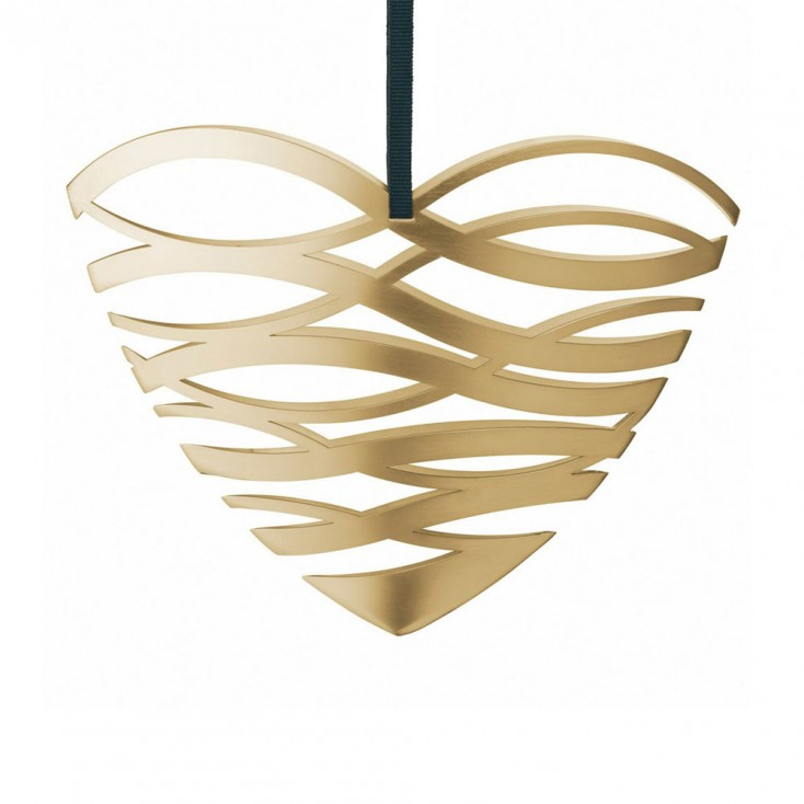 Stelton Large Tangle Heart Ornament - Brass