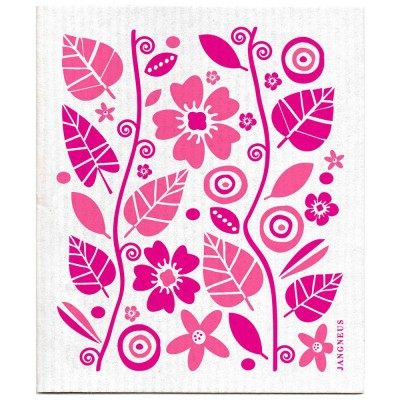 Jangneus Pink Flowers & Leaves Dishcloth