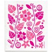 Jangneus Pink Flowers & Leaves Dishcloth