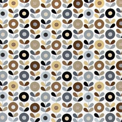 Remnant - Cirkelblomma Chocolate Fabric - 2.7 m