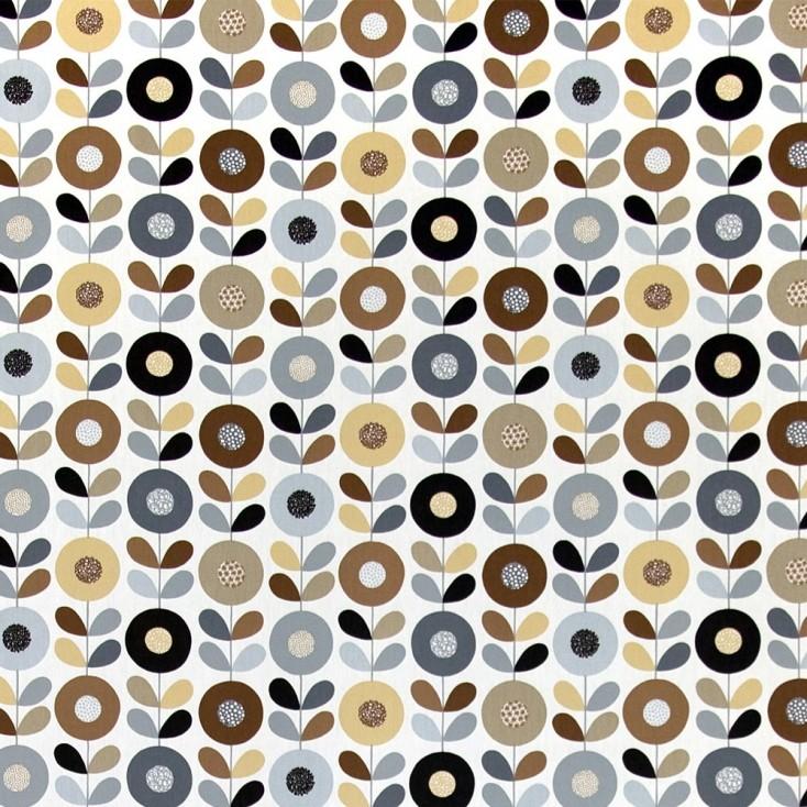 Remnant - Cirkelblomma Chocolate Fabric