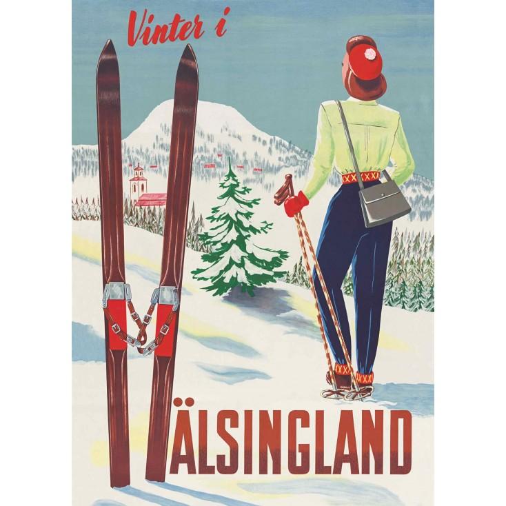 Wintergirl in Hälsingland - Vintage Travel Poster