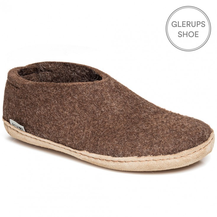 Glerups Felt House Shoe - Brown