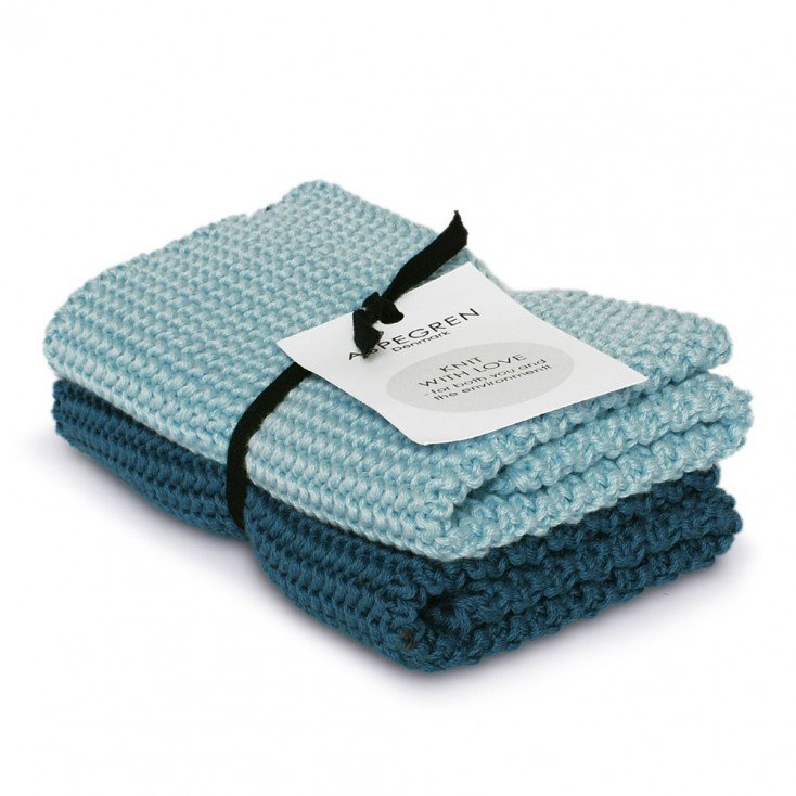 Aspegren Knitted Dishcloth Duo - Turquoise