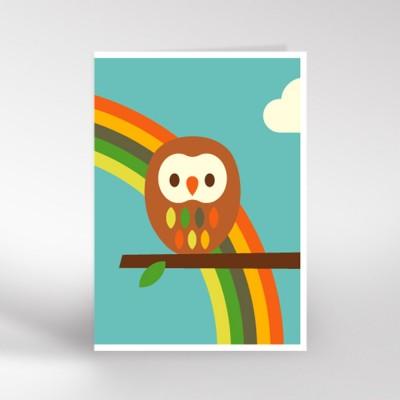 Owl and Rainbow Greeting Card