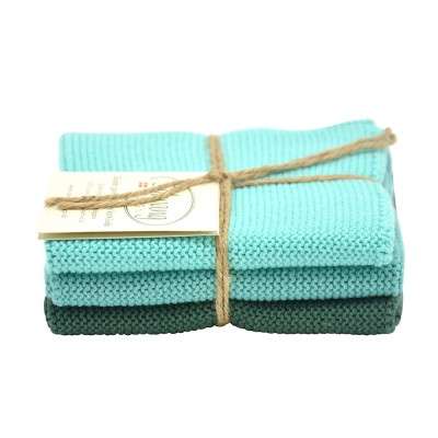 Danish Cotton Dishcloth Trio - Petrol