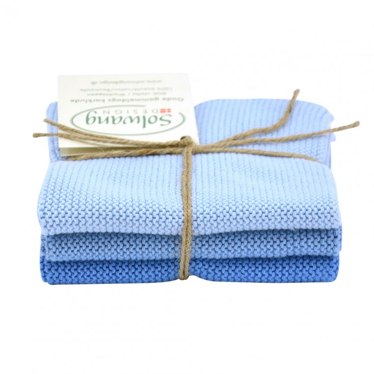 Danish Cotton Dishcloth Trio - Ice Blue