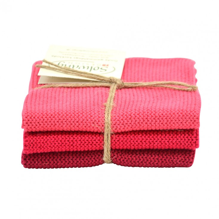 Danish Cotton Dishcloth Trio - Raspberry