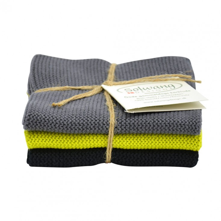 Danish Cotton Dishcloth Trio - Lime