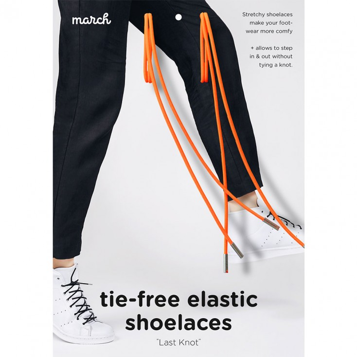March Last Knot Elastic Shoelaces - Neon Orange
