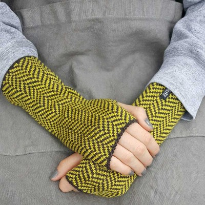 Wool Wristwarmers - Yellow Herringbone