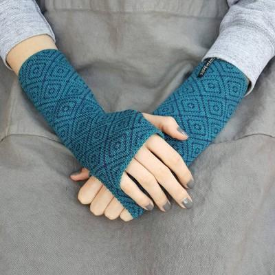 Wool Wristwarmers - Teal Rhomboid
