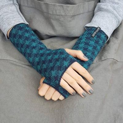 Wool Wristwarmers - Teal Star