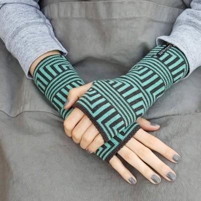 Wool Wristwarmers - Turquoise Meander