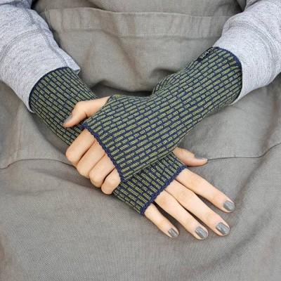 Wool Wristwarmers - Olive Stripe