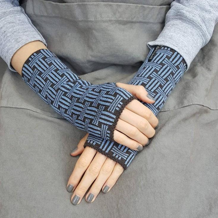 Wool Wristwarmers - Dusty Blue Basket
