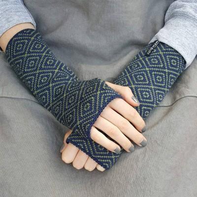 Wool Wristwarmers - Dark Blue Rhomboid