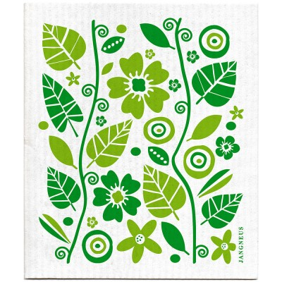 Jangneus Green Flowers & Leaves Dishcloth